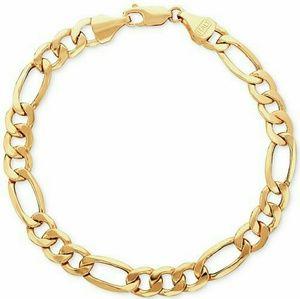 Brand New Solid 10 Kt Yellow Gold Figaro Bracelet